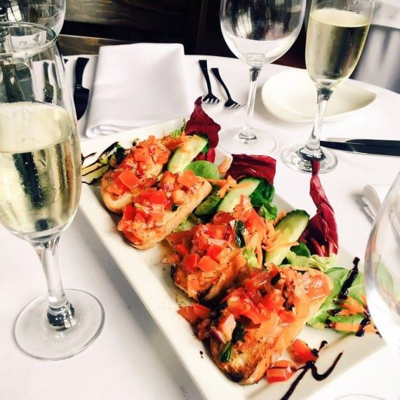 bruschetta, food, champagne giovannis knutsford italian restaurant